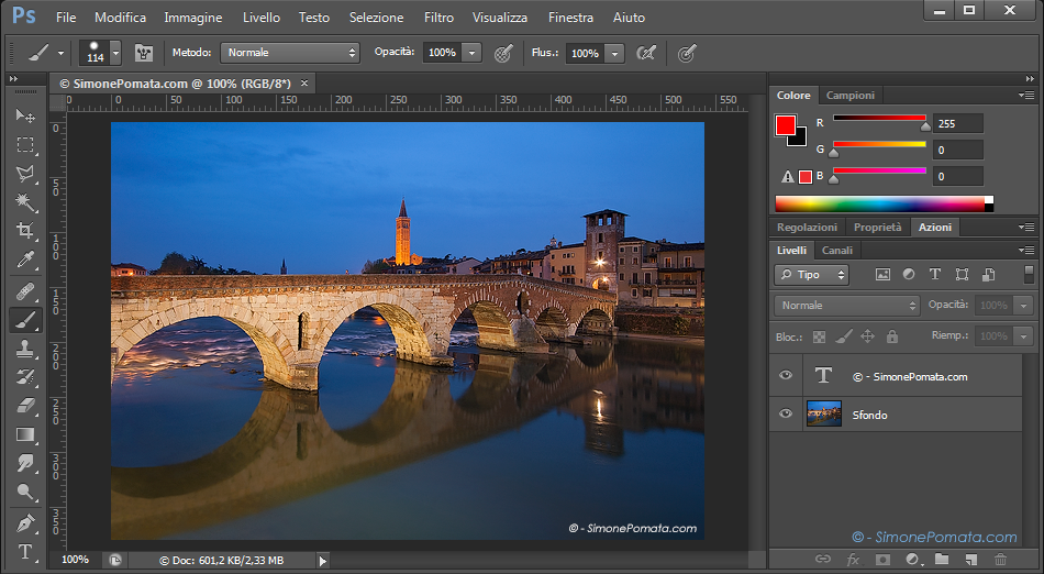 Aprire un'immagine in Photoshop CS6
